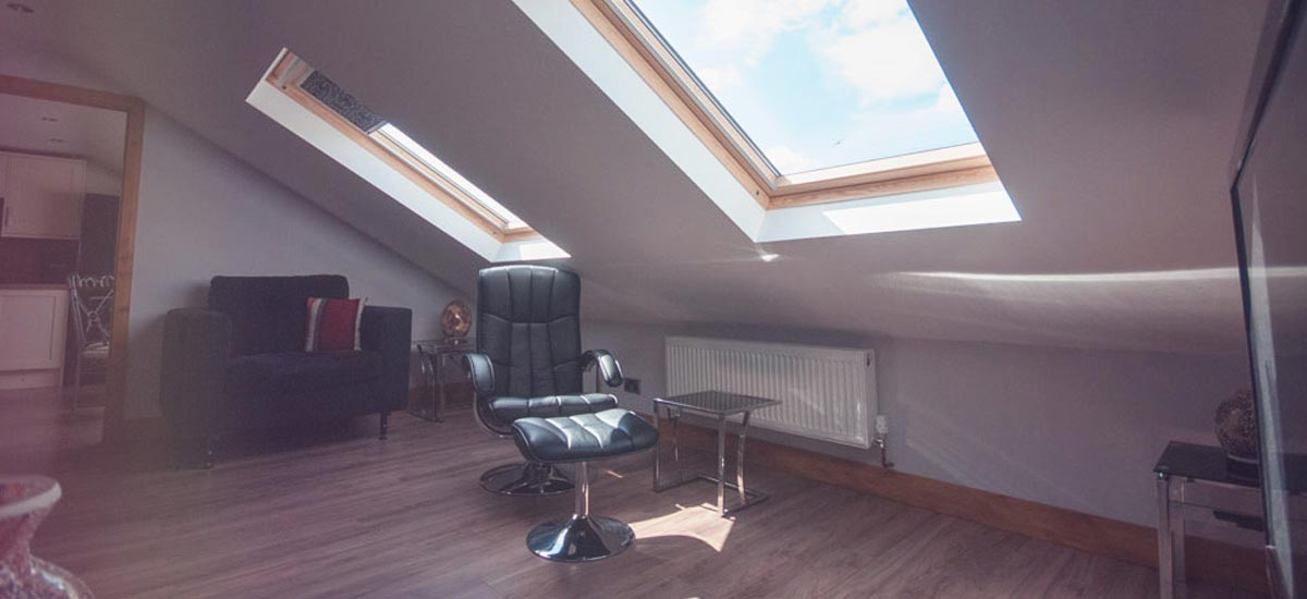 A picture of a completed loft conversion, an example of a home extension