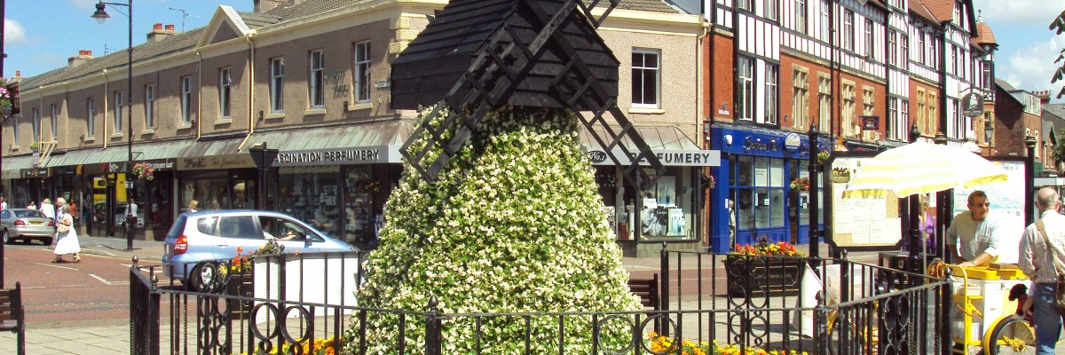 A picture of a windmill made of flowers, a display feature in Lytham town centre