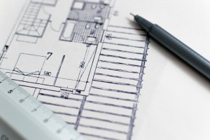 A picture of design plans from an architect for a home extension
